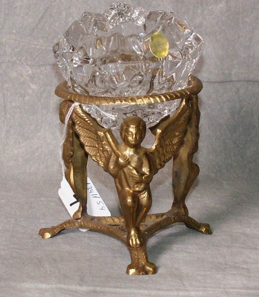 """Brass and crystal candle holder. H:6.5"""""""