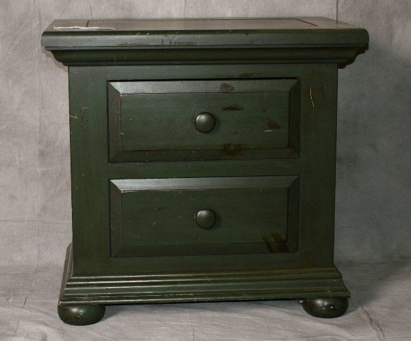 Broyhill furniture Painted wood 2 drawer nightstand. H: