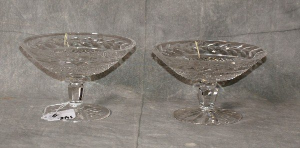 """2 signed Waterford crystal compotes. H:4"""" D:6"""""""