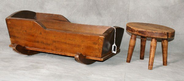 """19th C Mahogany baby doll cradle and bench. Cradle H:9"""""""