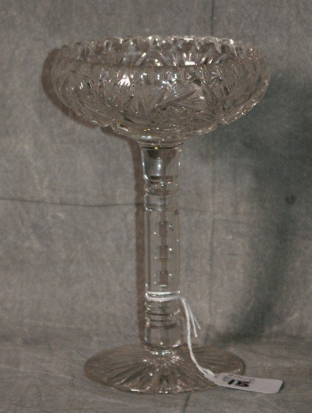 """Brilliant cut glass crystal compote. H:7.5"""" D:5"""""""