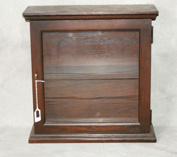 """Wood hanging display cabinet. H:17"""" W:16.5"""" D:5.75"""""""