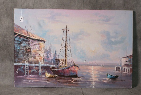 """Oil on canvas of a marina signed lower right. H:24"""" W:3"""