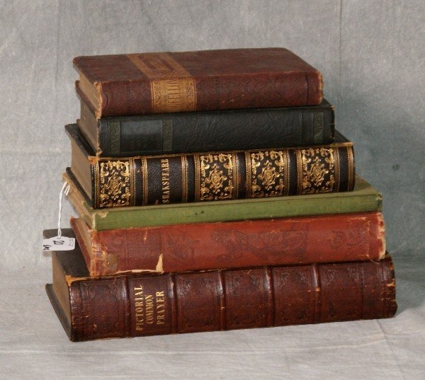 6 leather bound books , Early poems of Henry Wadsworth