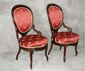 """Pair victorian chairs. H:37.5"""" W:21"""" D:22"""""""
