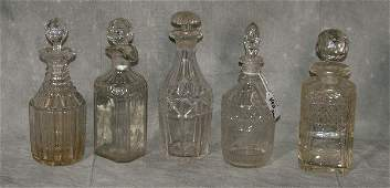 """Five glass decanters. H:9"""""""