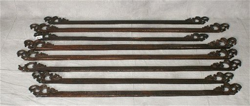 Eight Chinese Carved Wood Tapestry Hangers Longest L5