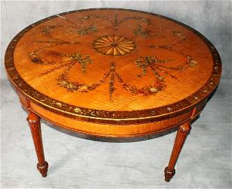 Large 19th C Adams painted satinwood center table. H:2