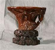 Chinese 17th C carved Rhino horn libation cup