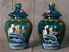 Chinese 18th C Famille Rose Peking Glass Vases