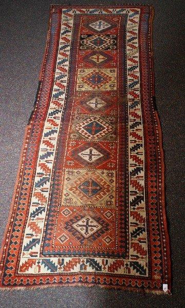 Antique Persian Kazak runner. 9'3 X 3'4