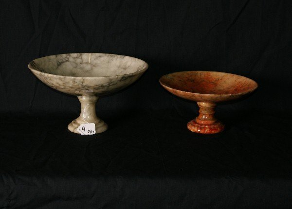 "Two marble compotes. Tallest H:6. 5"" D:11. 5"""