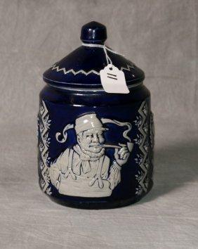 "Blue German covered ceramic jar. H:8"" D:5"""