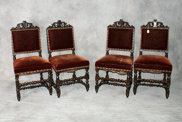 """Four 19th C English barley twist side chairs. H:38"""" W:"""