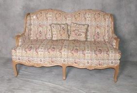 """Carved And Upholstered Wood Settee. H:37. 5"""" W:62"""" D:3"""