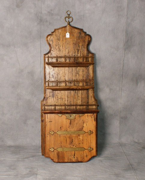 "19th c continental wood hanging 3 tier shelf. H:50"" W:"