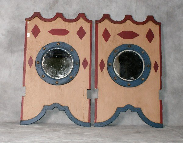 "Pair antique carousel painted mirrors. H:48"" W:28. 5"""