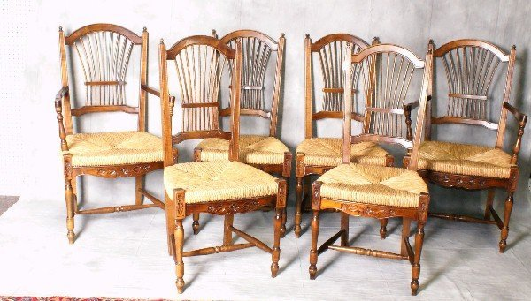 Set of six rush seat dining chairs with 2 arms and 4 s