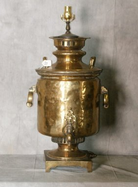 """18th C Brass samovar mounted as a lamp. H:31"""" D:18"""""""
