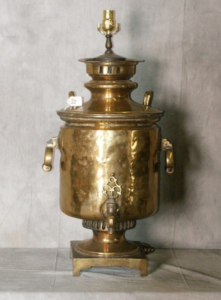 "18th C Brass samovar mounted as a lamp. H:31"" D:18"""