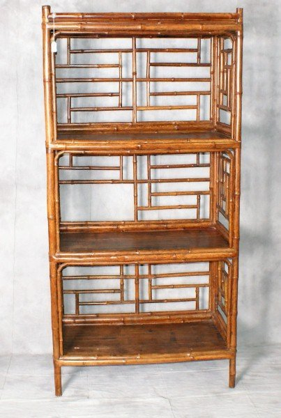 19th C Chinese Bamboo Bookcase With Split Shelv Lot 0112
