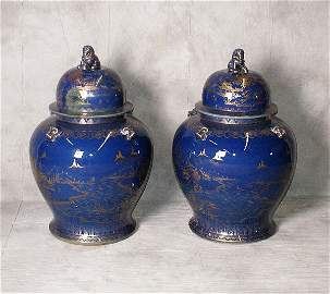 18th/19th C Large pair Chinese blue with gilt decorati