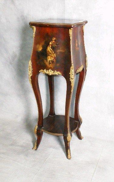 19th c Verni Martin painted bronze mounted pedestal