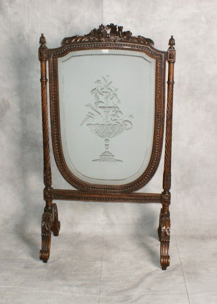 19th C French carved wood and etched glass fire screen.