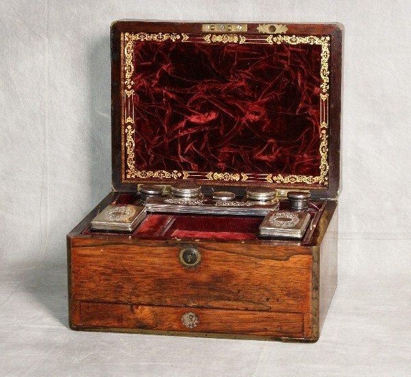19th C mahogany and bronze inlaid traveling dressor box