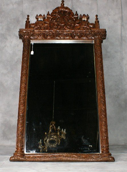Large 19th c Heavily carved wood mirror with old