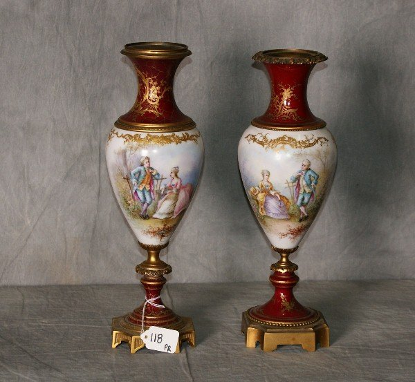 Two sevres porcelain gilt metal mounted and artist