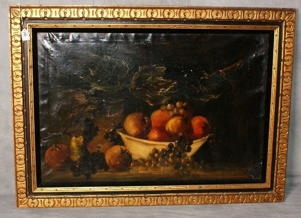 """19th C oil on canvas still life of fruit. H:31. 5"""""""