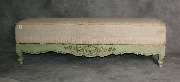 """Large Italian painted wood bench. H:18"""" L:64"""" D:18"""""""