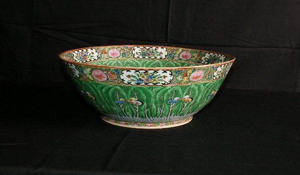 18th C Chinese porcelain and enamel cabbage leaf bowl.