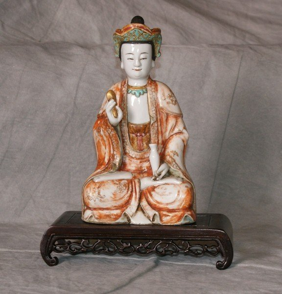 18Th C  Chinese Painted Porcelain Quan Yin Figure.
