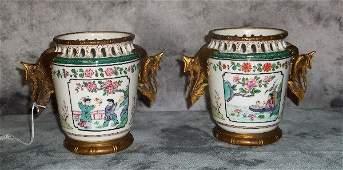 Pr French porcelain bronze mouted vases