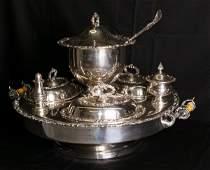 LG antique silver plate lazy susan dinner service set