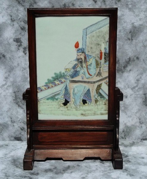 18th C or earlier Chinese porcelain plaque on stand