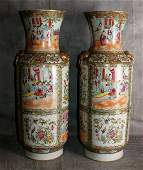 Large Pair 19th C Chinese canton rose medallion vases