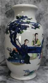 Large 19th C Chinese Doucai porcelain vase