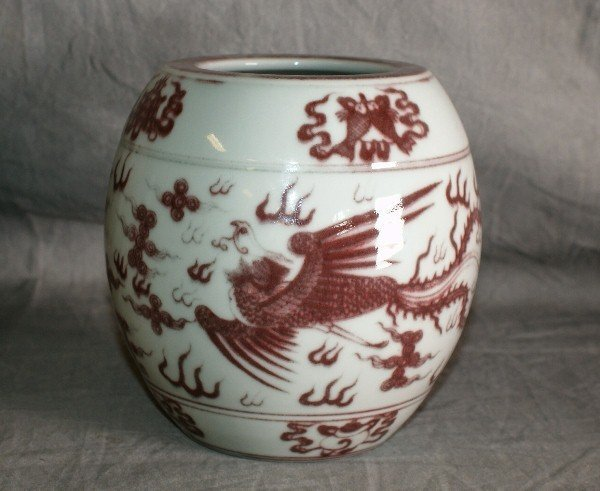 18th C Chinese brown and white porcelain jar