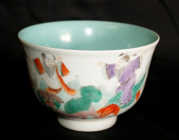 19th C Chinese celedon painted bowl with marks