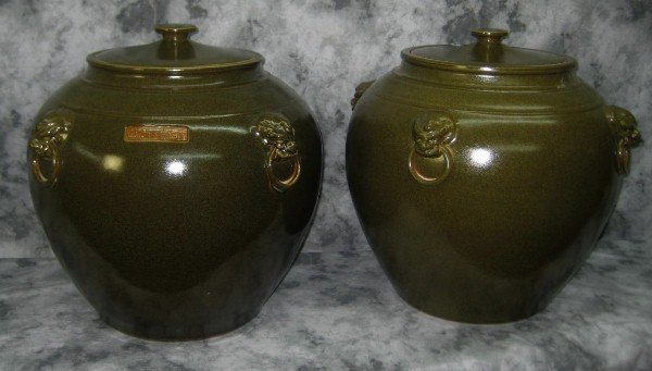 Pr 19/20th C Chinese  tea glaze dust covered jars