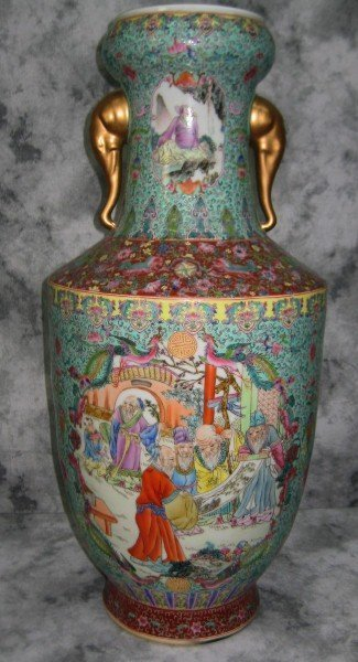 19th C Chinese porcelain vase with elephant handles