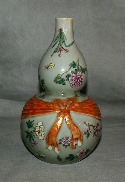 18th C Chinese celadon and enamel double gourd vase