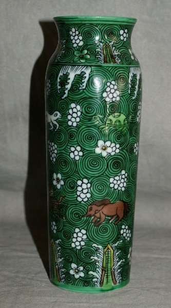 18th C Chinese green porcelain vase