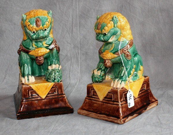 Pair chinese ceramic painted foo dogs