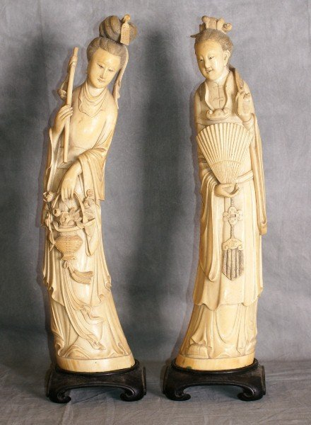 Large Pair 19th C Chinese Ivory figures on wood stands