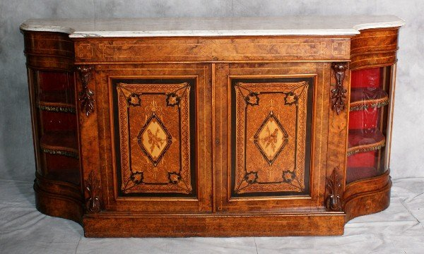Important A. Blain Liverpool heavily inlaid credenza