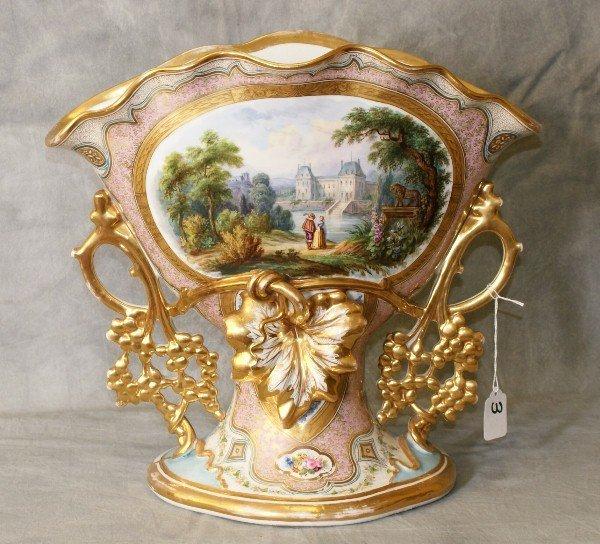 Large old paris porcelain fan shape vase.